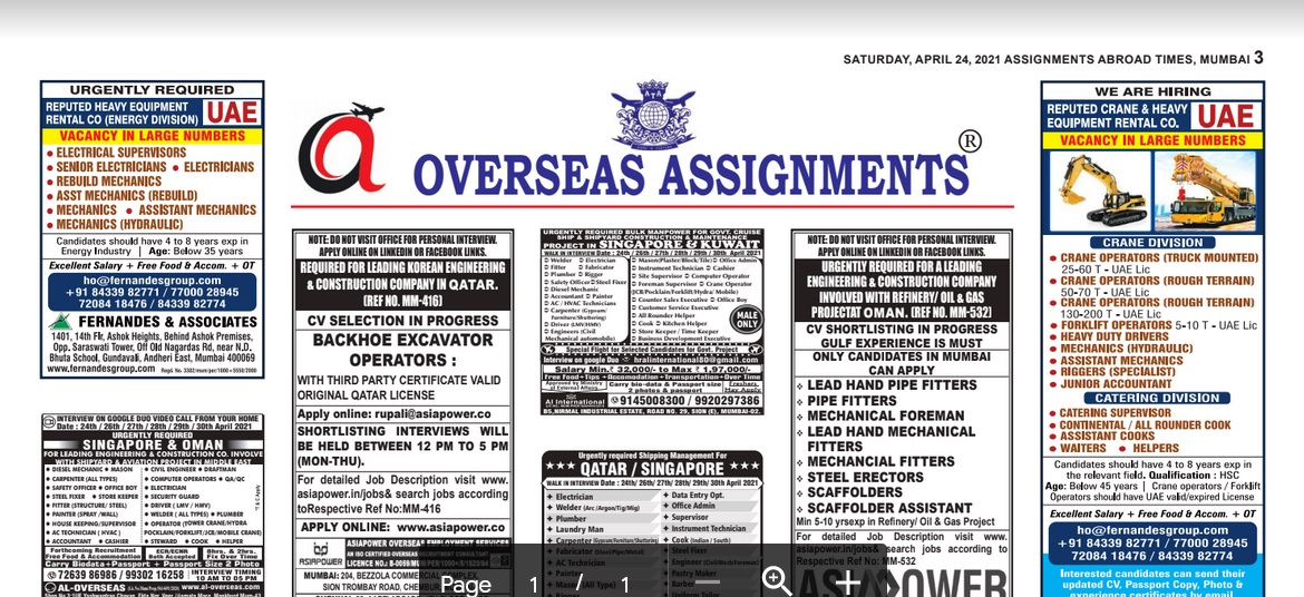 Assignment Abroad Times 21st July 2021