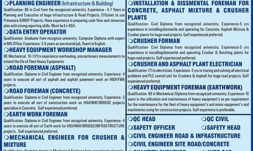 URGENTLY REQUIRED FOR A LEADING ROAD CONSTRUCTION PROJECT IN SAUDI ARABIA