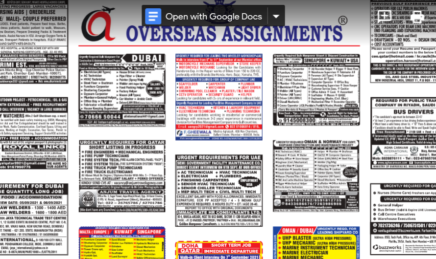 Assignment Abroad Times 11th September 2021