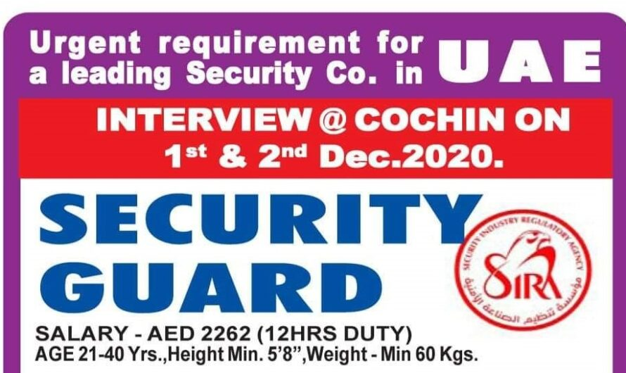 Urgent requirement for a leading Security co. in U A E