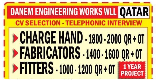 DANEM ENGINEERING WORKS CV SELECTION – TELEPHONIC INTERVIEW QATAR