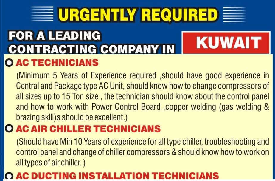 URGENTLY REQUIRED FOR A LEADING CONTRACTING COMPANY IN KUWAIT