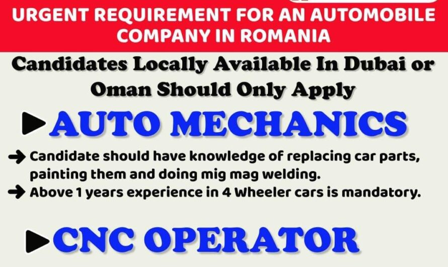 URGENT REQUIREMENT FOR AN AUTOMOBILECOMPANY IN ROMANIA