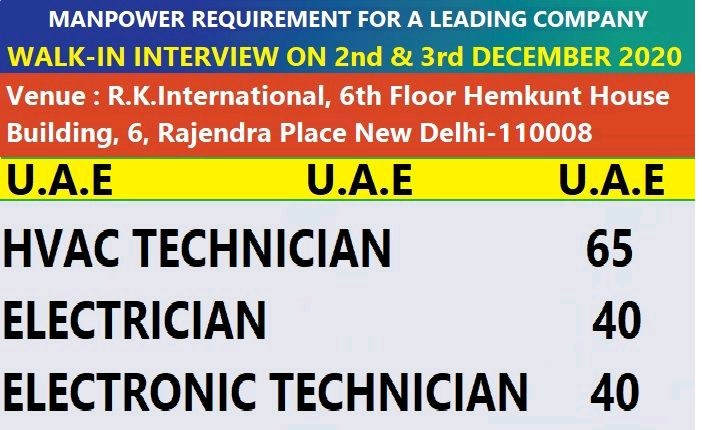MANPOWER REQUIREMENT FOR A LEADING COMPANY UAE