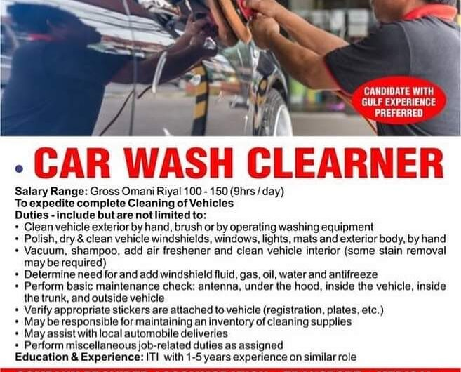 WITH GULF EXPERIENCE PREFERRED— • CAR WASH CLEANER OMAN