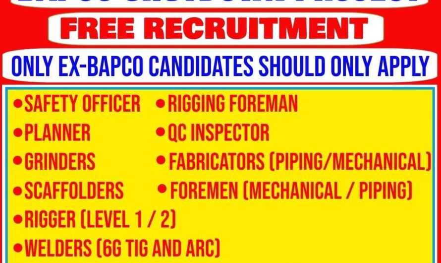 BAHRAIN REQUIRED FOR A OIL & GAS COMPANY