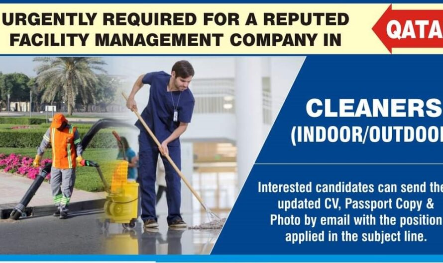 URGENTLY REQUIRED FOR A REPUTED QATAR