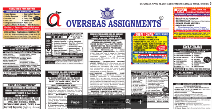 Assignment Abroad Times 08th May 2021