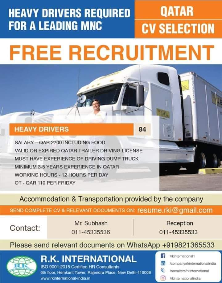 HEAVY DRIVERS REQUIRED QATAR
