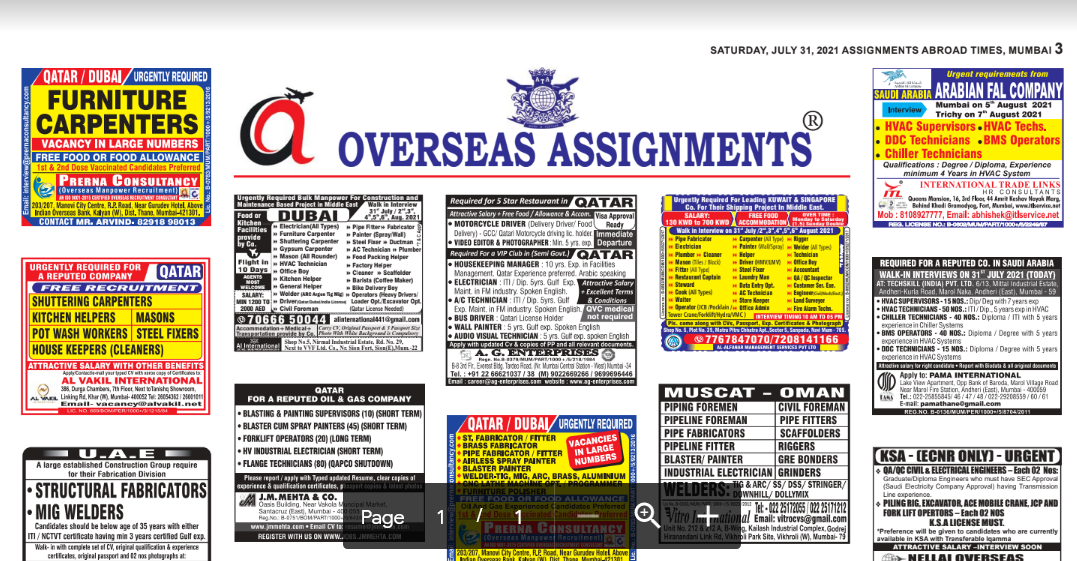 Assignment Abroad Times 31st July 2021